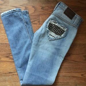 Frankie B heart studded skinny jeans